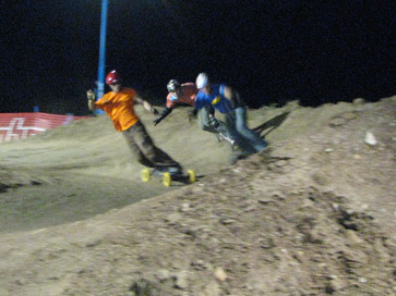 Cole Shipp, Jereme Leafe and Benton Jackson, fighting through the first berm. Photo by: Altitude Sickness