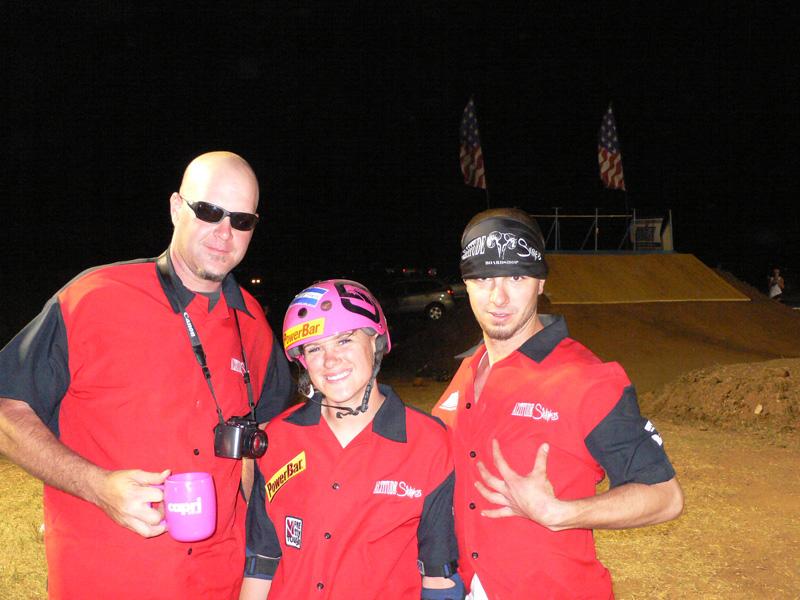 Phil Shedder Altitude Sickness Team Manager/Co-Owner, rider Mellisa Ponce De Leon and Devin Garland