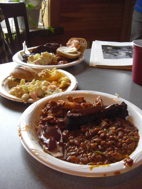 Ribs, Brisket, Baked Beans, Pasta Salad, Fresh Rolls and Peach Cobbler. Surely worthy of a Lincoln.